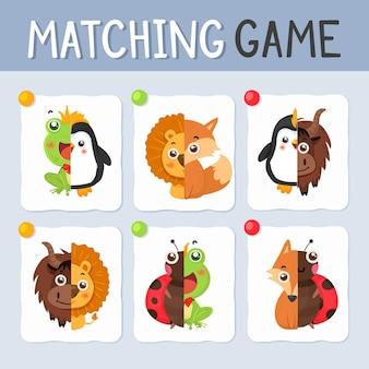 Ilustração do jogo de correspondência com animais