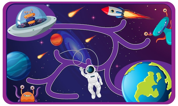 Ilustração do jogo de labirinto bonito dos desenhos animados