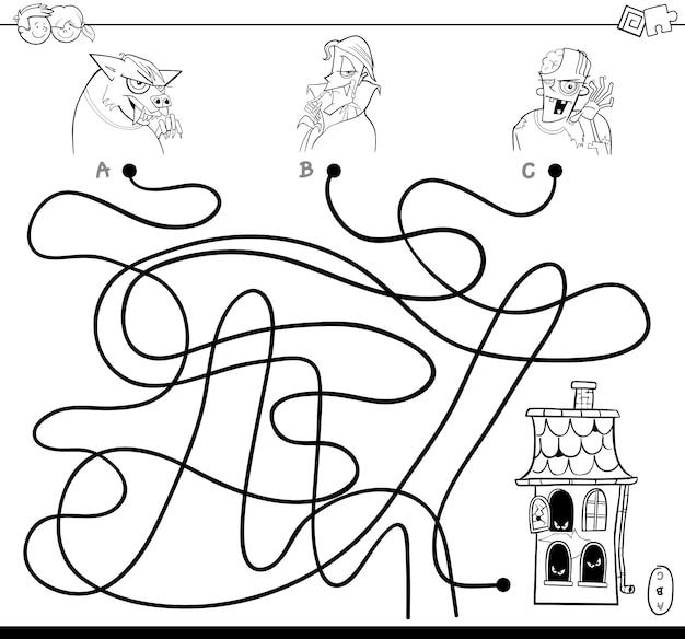 Ilustração do jogo de labirinto de linhas com personagens do halloween