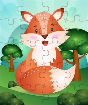 Ilustração do jogo de quebra-cabeça para crianças com a raposa fofa