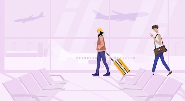 Ilustração do jovem casal andando com mala no terminal.