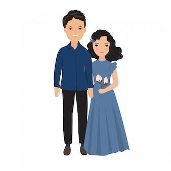 Ilustração do jovem casal em traje elegante