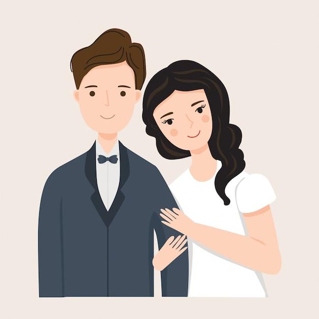 Ilustração do jovem casal no vestido de casamento