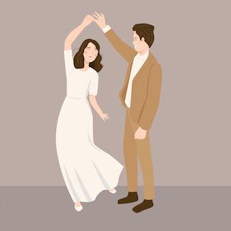 Ilustração do jovem casal. noiva e noivo dançando
