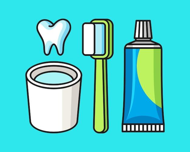 Ilustração do kit de escova de dentes