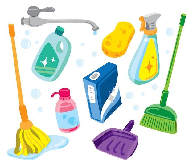 Ilustração do kit de limpeza