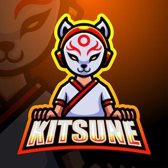 Ilustração do kitsune ninja mascote esport