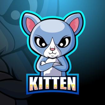 Ilustração do kitten mascote esport