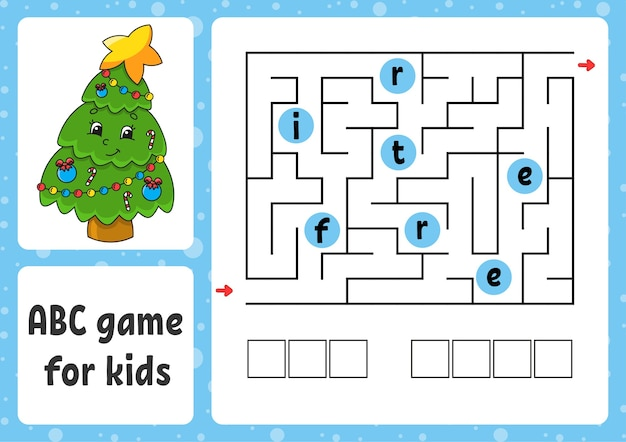 Ilustração do labirinto abc para crianças