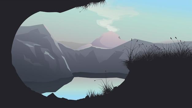 Ilustração do lago ao redor das montanhas ao pôr do sol com reflexo