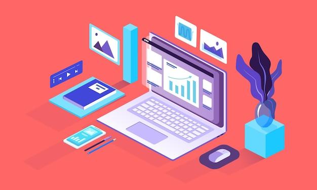 Ilustração do laptop isométrico colorido com negócios ou finanças. imagens, janelas pop-up, smartphones, papel de escritório e objetos de chancelaria.