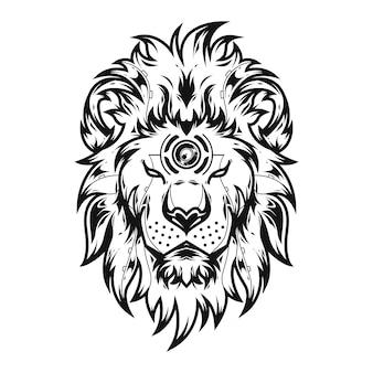 Ilustração do leão de liong e projeto do tshirt
