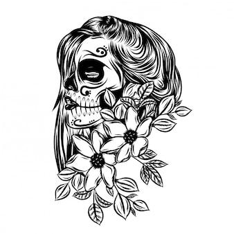 Ilustração do lindo dia dos mortos com arte no rosto de flores