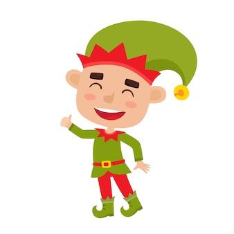 Ilustração do lindo duende menino de natal sorrindo isolado no branco
