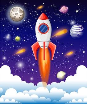 Ilustração do livro aberto com elementos do espaço - sistema solar, ônibus espacial, planetas, estrelas, terra, cometa. conceito de imaginação feito em estilo simples.
