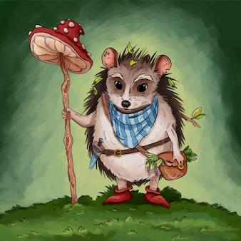 Ilustração do livro das crianças da aventura da fantasia do gatherer do ouriço