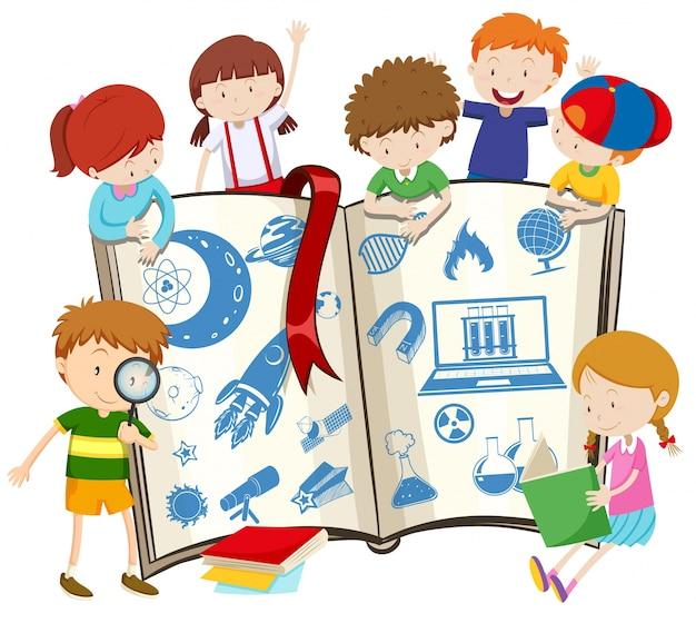 Ilustração do livro de ciência e crianças