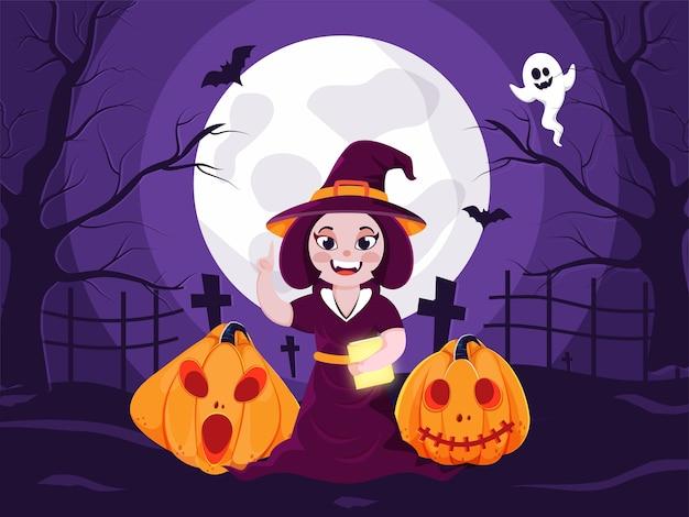 Ilustração do livro de exploração de bruxa alegre com jack-o-lanterns, morcegos voadores e fantasma em fundo de exibição de cemitério roxo lua cheia.