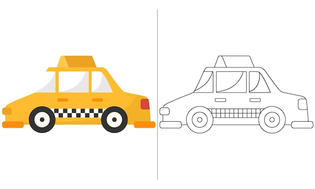 Ilustração do livro para colorir infantil amarelo classic taxi car