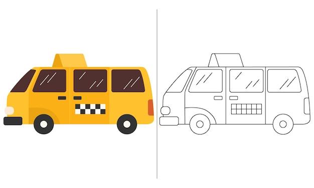 Ilustração do livro para colorir infantil amarelo taxi car
