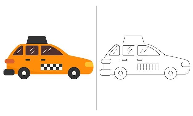 Ilustração do livro para colorir infantil laranja novo modelo de carro de táxi