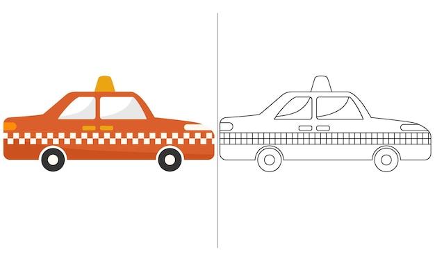 Ilustração do livro para colorir infantil laranja taxi car