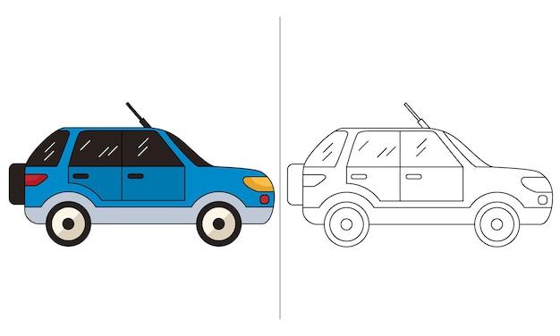 Ilustração do livro para colorir para crianças carro suv azul