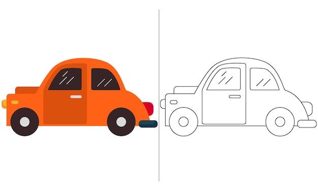 Ilustração do livro para colorir para crianças orange mini car classic