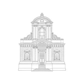 Ilustração do local arquitetura da igreja desenho em preto e branco ilustração