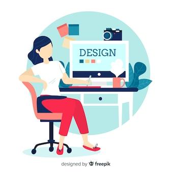 Ilustração do local de trabalho de design gráfico