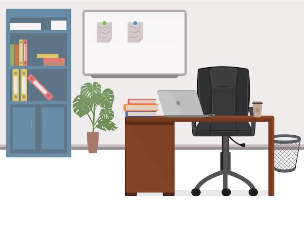 Ilustração do local de trabalho de escritório em estilo simples