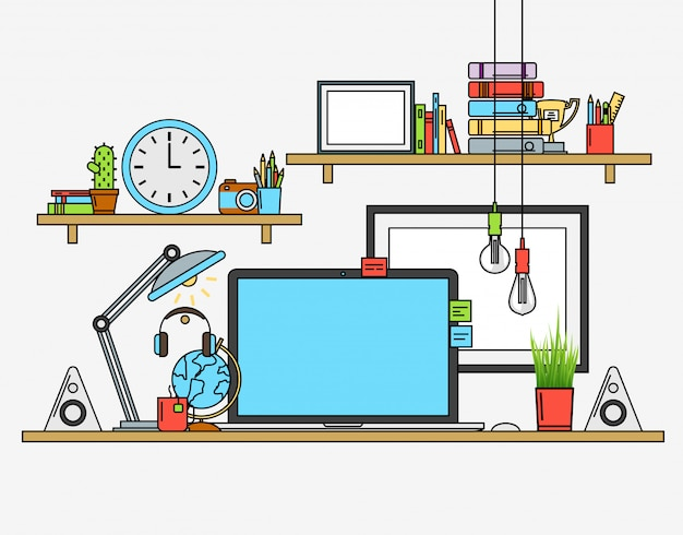 Ilustração do local de trabalho de escritório moderno