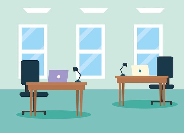 Ilustração do local de trabalho de escritório