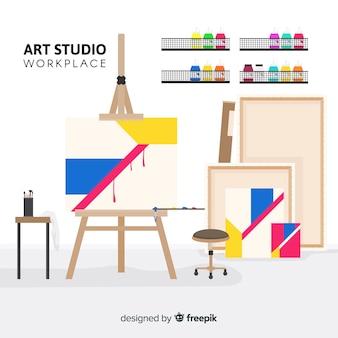 Ilustração do local de trabalho de estúdio de arte plana