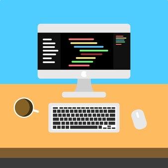 Ilustração do local de trabalho de programadores premium vecto