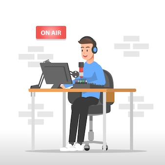 Ilustração do locutor de rádio