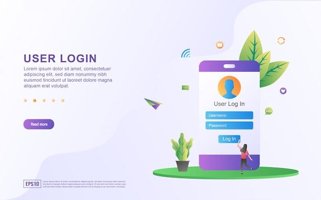 Ilustração do login do usuário inserindo um nome de usuário e senha para fazer o login.