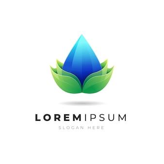 Ilustração do logotipo abstrato gradiente colorido de água e folha