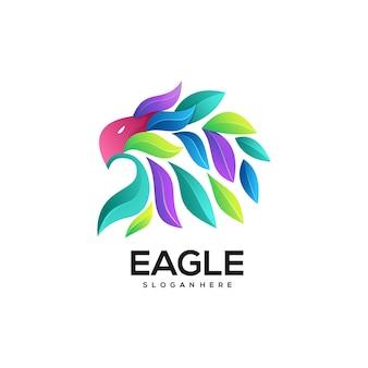 Ilustração do logotipo águia gradiente colorido