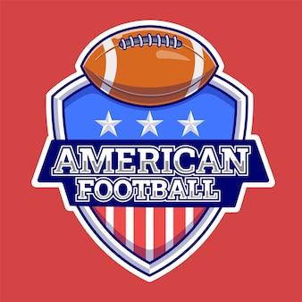 Ilustração do logotipo americano de esportes com bola. esporte . estilo de desenho plano