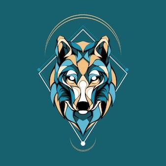 Ilustração do logotipo artict wolf head geometri