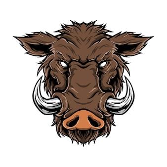 Ilustração do logotipo artwok de cabeça de javali