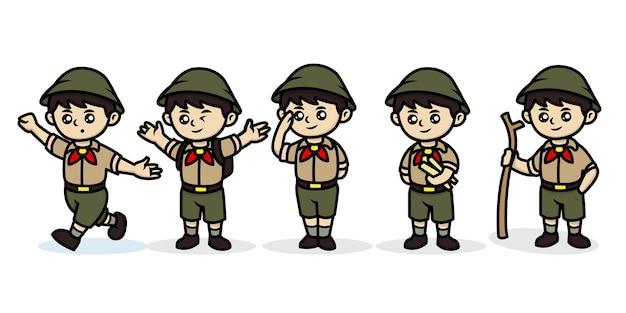 Ilustração do logotipo bonito do mascote dos meninos escoteiros kawaii