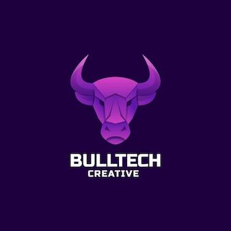 Ilustração do logotipo bull tech gradient estilo colorido.