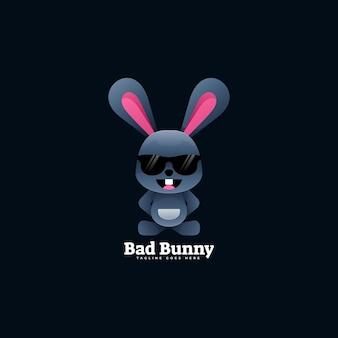 Ilustração do logotipo bunny gradient colorful style.