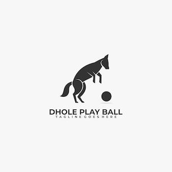 Ilustração do logotipo cão jogando bola estilo silhueta.