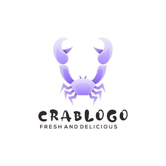 Ilustração do logotipo caranguejo gradiente estilo colorido