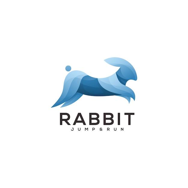 Ilustração do logotipo coelho gradiente colorido