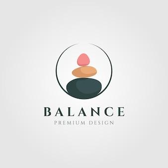 Ilustração do logotipo colorido de equilíbrio de pedra