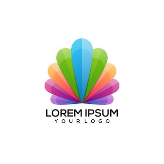 Ilustração do logotipo colorido de vieiras